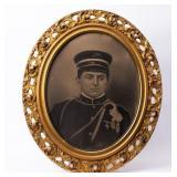 Framed Photograph Uniformed Soldier Circa 1900