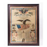 Framed Certificate 3rd Kentucky Infantry WWI