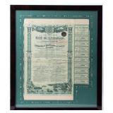 Framed 500 Francs Bearer Bond 1906