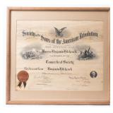 Framed Certificate Sons of the American Revolution