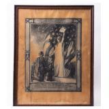 Framed Certificate In Memory of Jesse Bland WWI