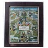 Framed Certificate Recognizing Service World War I