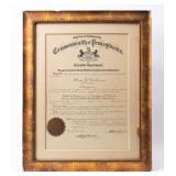 Framed Certificate National Guard Promotion
