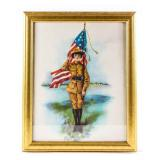 Framed Lithograph Uniform Soldier Holding US Flag