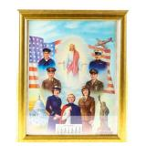 Framed Lithograph World War II Religious / Patriot