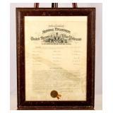 Framed Certificate Spanish War Veterans 1914