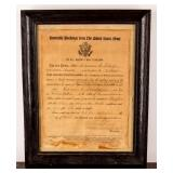Framed Certificate WWI Honorable Discharge