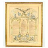 Framed Certificate Soldiers Memorial 1864