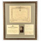 Framed Certificates Hubert E. Wade World War I