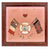 Framed Hand Embroidered Cloth Photograph WWI