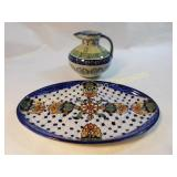 NICE  Hand Painted Serving Platter & Pitcher