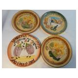 4 Piece Gilberto Freyre Hand Painted Plates