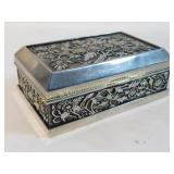 Lined Ornate Metal Trinket Jewelry Box