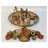 10 Pc Italian Hand Carved & Painted Nativity Set