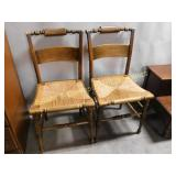 Pair Vintage Rush Seat Turned Handle Back Chairs
