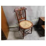 Vintage Cane Seat With Carved Elements Chair