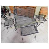 Wire Frame Outdoor Bench & Nesting Side Tables