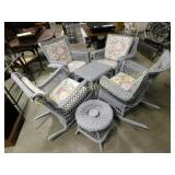 6 Piece Grey Outdoor Wicker Set Rockers & Tables