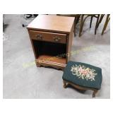 Single Drawer Wooden Nightstand & Small Foot Stool