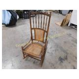 Antique High Back Cane Seat Rocker