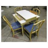 Wooden Bamboo Style Dining Table & Chairs, Leaves