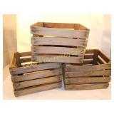 3 Wooden Box Crates