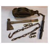 Lg Vintage Pulley Hatchet Drop Plumb More