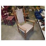 Vintage Woven Wooden Rocking Chair