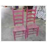 2 Vintage Painted Rush Seat Chairs