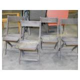 4 Vintage Wooden Slatted Seat Folding Chairs