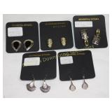 Premium 5Pr Carded Sterling Earrings Wire & Clip