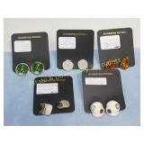5 Pair Carded Earrings Costume Lot Posts