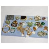 19 Rhinestone & Glass Bead Brooches & Pins
