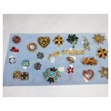 20 Rhinestone & Beaded Pins Brooches Clip Earring