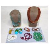 8 Glass Bead Necklaces & Goldstone Bracelet