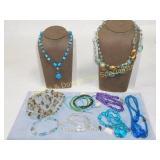 Glass Bead Lot 7 Necklaces & 5 Bracelets