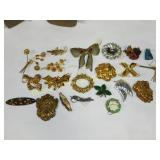 20 Brooches & Pins Turquoise Jade Marcasite More
