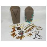 18 Pc Nice Costume Lot Amber Gold and Red Tones