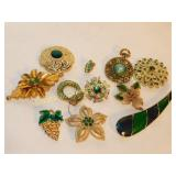 10 Blingy Green Stone Brooches