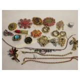 23 Pc Blingy Costume Lot Brooches Necklaces +