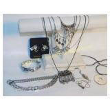 Nice Lot of Silver Toned Cuffs Pendant Necklaces +