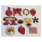 Lot of 13 Gold Toned and Red Stone Brooches