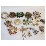 Lot of 16 Blingy Costume Brooches and Pins