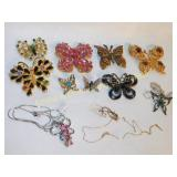 8 Butterfly Brooches and 2 Necklaces