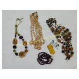 6 Glass Beaded and Pendant Necklaces