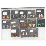 13 Pc Costume Earrings Clip and Screws