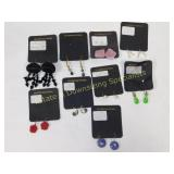 9 Pr Carded Several Semiprecious Earrings Wire