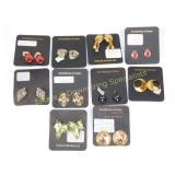 10Pr Carded Clip Earrings Nice Costume Lot