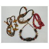 4 Necklaces Wood Shell Wooden and Other