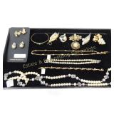 12 Pc Pearl & Gold Toned Necklaces Clip Earrings+